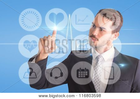 Thoughtful businessman pointing something with his finger against medical background with blue ecg line