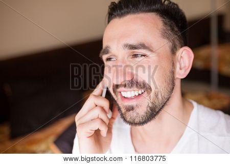 Candid Man Having Fun On The Phone