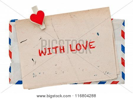 Vintage Air Mail Envelope. Retro Post Love Letter