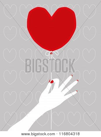 Heart Shape Red Balloon