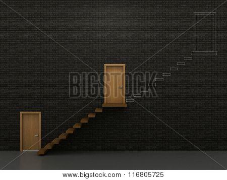 Three Doors And Stairs 1