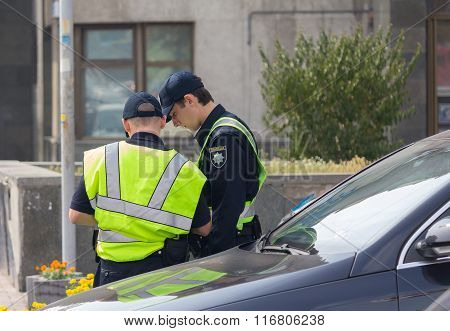 Kiev, Ukraine - September 04, 2015: Police Work At The Scene Of A Traffic Accident