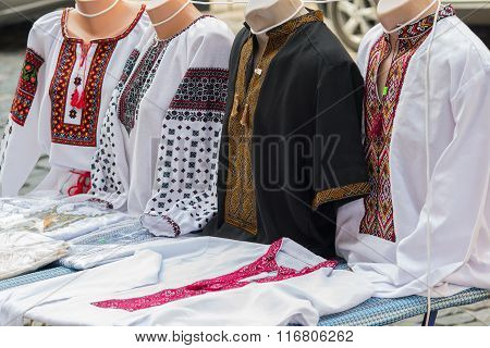 Ukrainian Embroidery On The Counter. Travel And Souvenirs