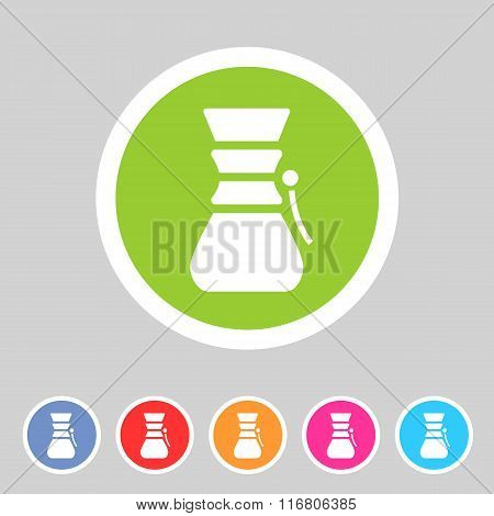 Chemex coffeemaker coffee icon flat web sign symbol logo label