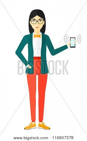 Woman holding ringing telephone.