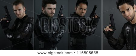 Super cops - portrait of four men of the special forces