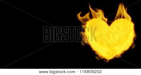 Filled heart with fire against black