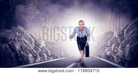 Businesswoman running and holding briefcase against stocks and shares