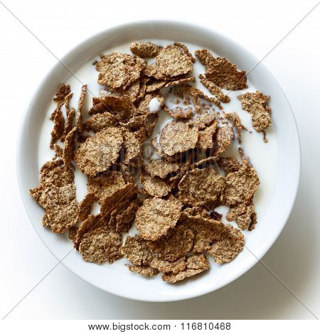 Wheat Bran Breakfast Cereal In Bowl.