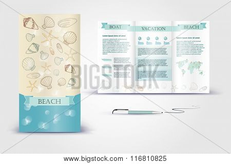 Coastal brochure. Color application booklet template design for corporate identity with statistics and infographics. Cover layout and infographics. Business stationery.