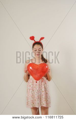 Cute Funny Girl Holding Red Balloon Heart