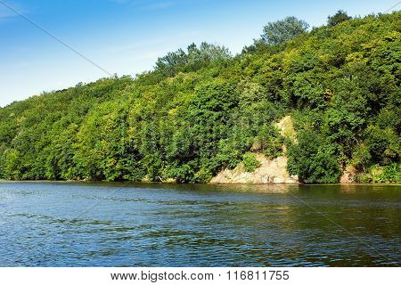 River And Mountains With Green Trees