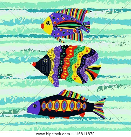 Colorful Tropical Fish Swimming In The Sea