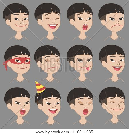 Cartoon Asian boys's emotions and expressions set.