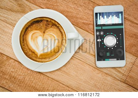 Music app against view of a heart composed of coffee