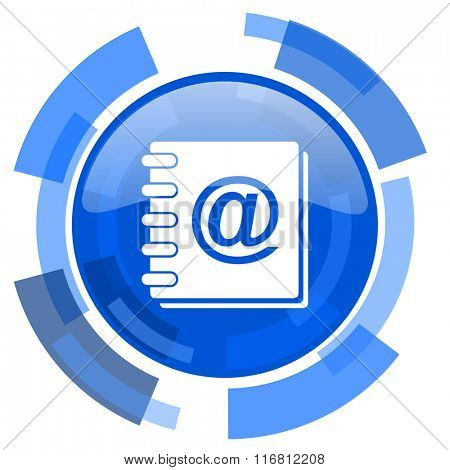 address book blue glossy circle modern web icon