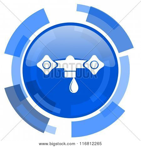 water blue glossy circle modern web icon