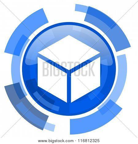 box blue glossy circle modern web icon