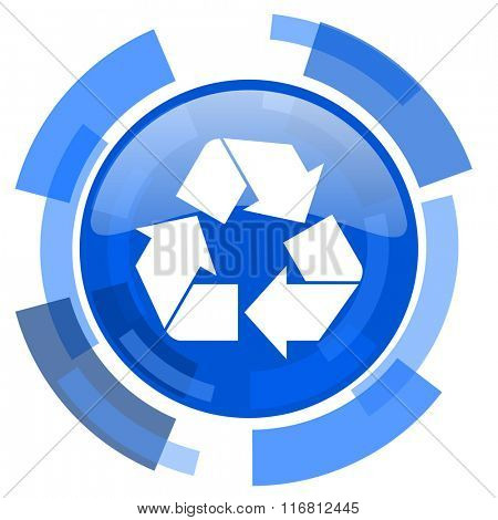 recycle blue glossy circle modern web icon