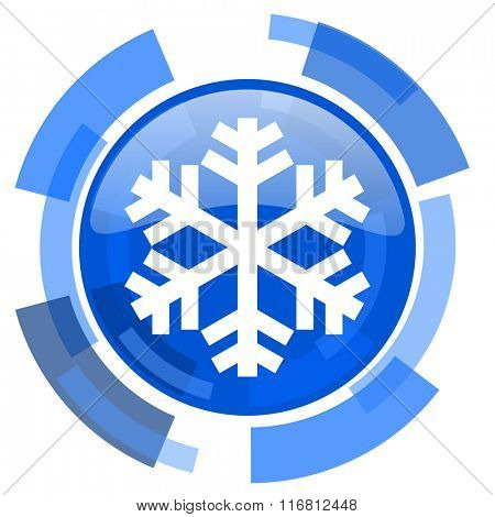 snow blue glossy circle modern web icon