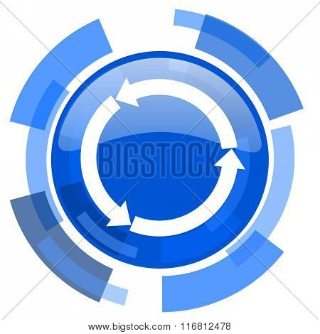 refresh blue glossy circle modern web icon