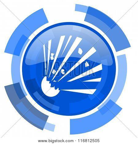 bomb blue glossy circle modern web icon
