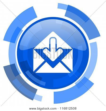 email blue glossy circle modern web icon