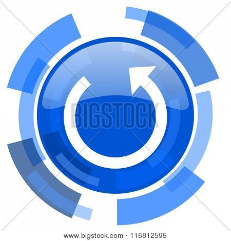 rotate blue glossy circle modern web icon