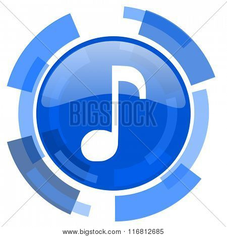 music blue glossy circle modern web icon