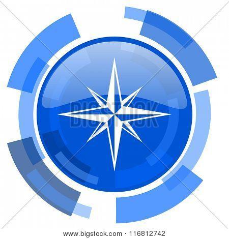 compass blue glossy circle modern web icon