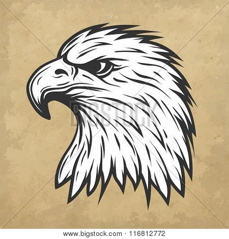 Eagle head in profile.  Line art style.