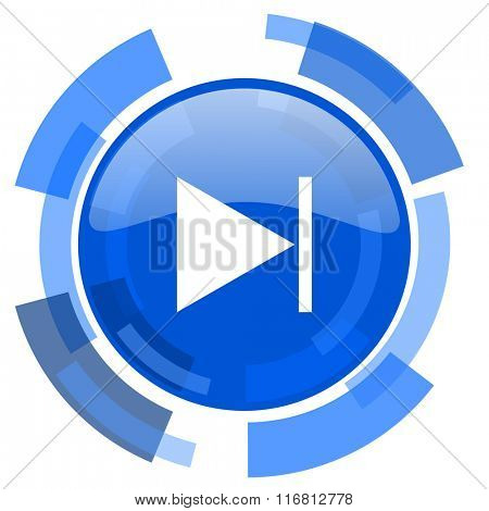 next blue glossy circle modern web icon