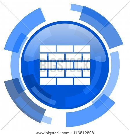 firewall blue glossy circle modern web icon