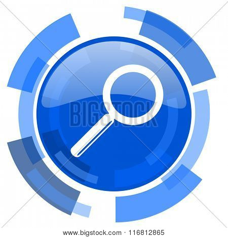 search blue glossy circle modern web icon