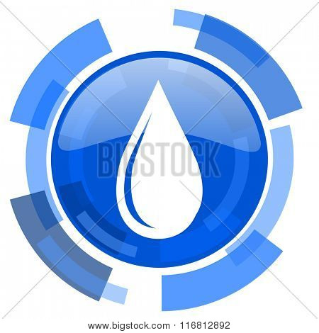 water drop blue glossy circle modern web icon