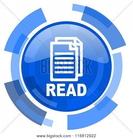 read blue glossy circle modern web icon