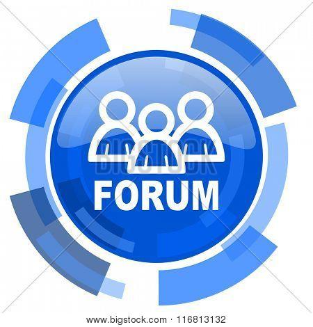 forum blue glossy circle modern web icon