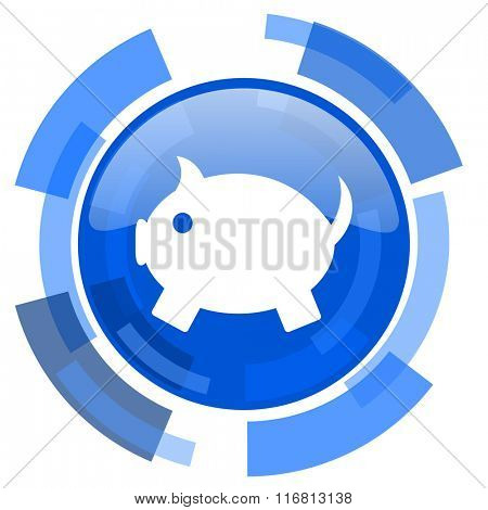 piggy bank blue glossy circle modern web icon