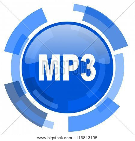mp3 blue glossy circle modern web icon