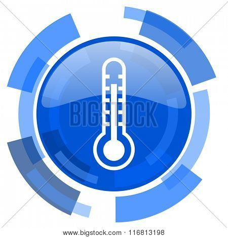 thermometer blue glossy circle modern web icon