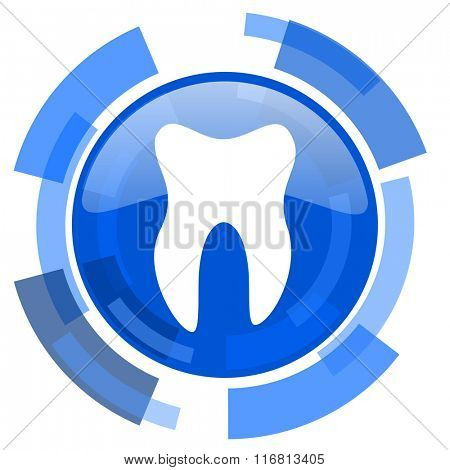 tooth blue glossy circle modern web icon