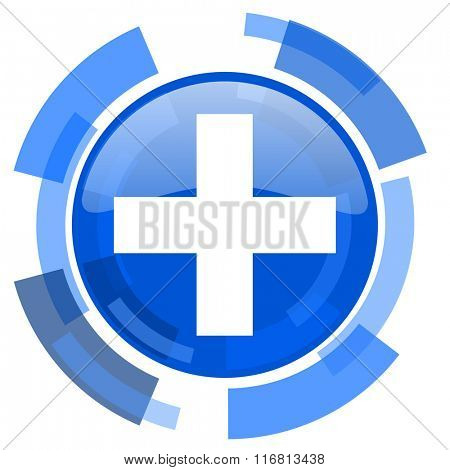 plus blue glossy circle modern web icon