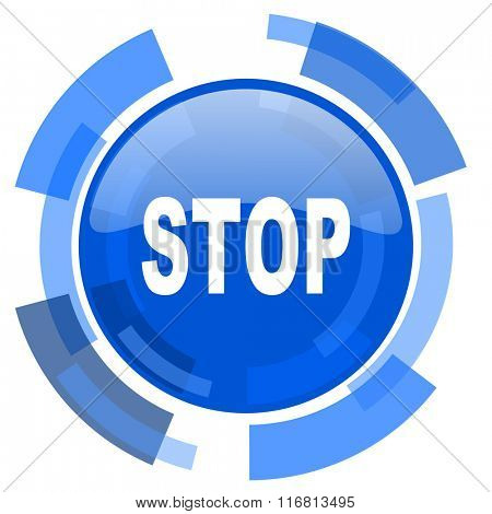 stop blue glossy circle modern web icon