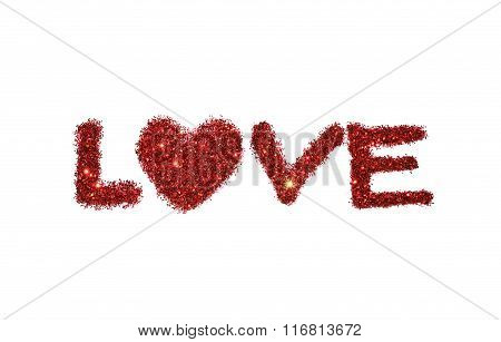 Word Love of red glitter sparkle on white background