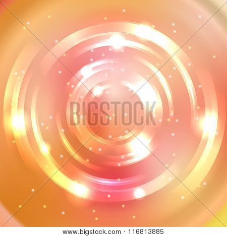 Abstract Colorful Background, Shining Circle Tunnel. Pink, Orange, Yellow Colors. Elegant Modern Geo