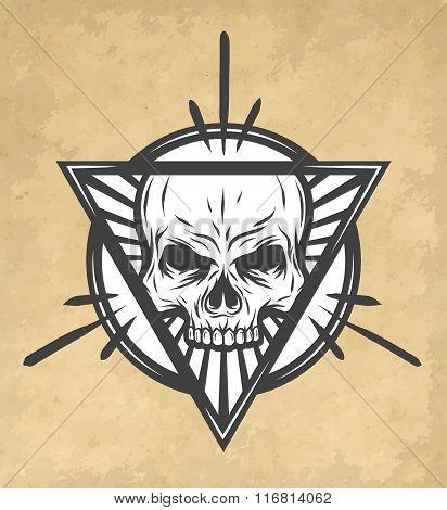 Skull on an abstract illustration.