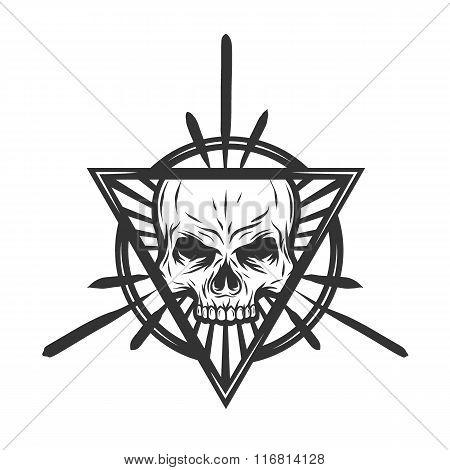 Skull with elements. Mystic symbol.
