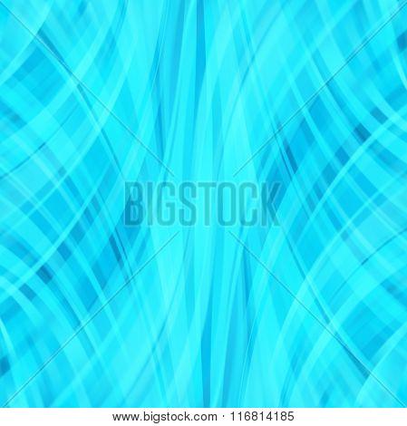 Vector Illustration Of Neon Blue Abstract Background With Blurred Light Curved Lines. Vector Geometr