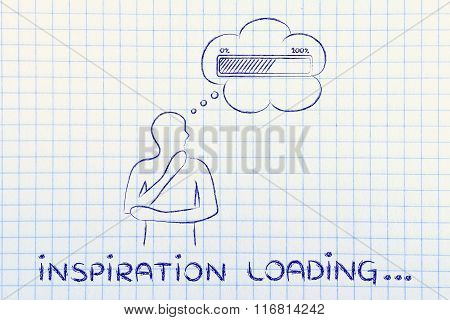 Person With Thought Bubble &  Progress Bar, With Text Inspiration Loading