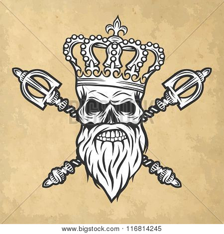 Skull, crown and scepter. Line art style.
